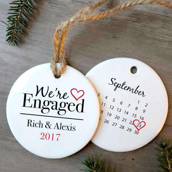 image 0 - Our First Christmas Engaged Ornament Personalized Ornament Etsy
