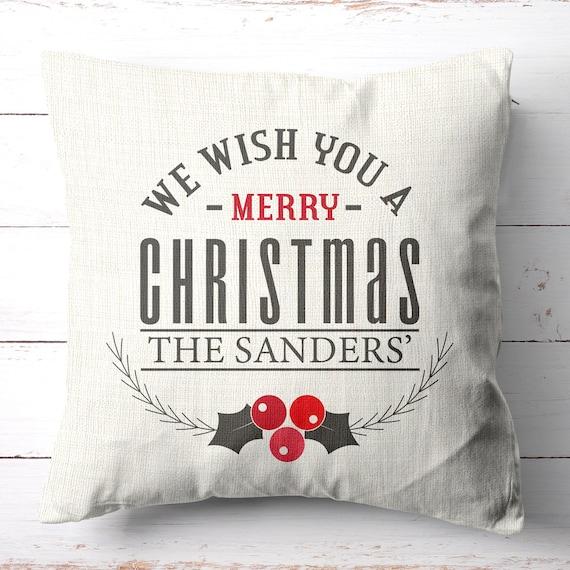 Personalized Christmas Decor | Christmas Pillows | Christmas Decorations |  Traditional | Christmas Throw Pillow | Housewarming Gift