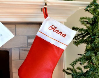 Christmas stocking/Personalized Felt Stocking/Red Stocking/Monogram stocking/Budget Stockings/Stockings/Personalized/Monogram/Family