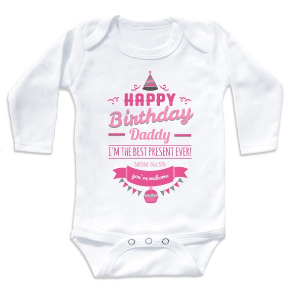 Happy Birthday Daddy im The Best Present Ever Baby Bib for Boys /& Girls