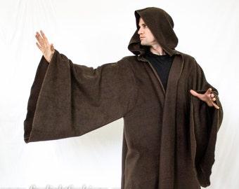 jedi cloak | star wars cosplay costume | sith lord cape | starwars comicon apparel | fleece coat w/ bell sleeves & hood | darth vadar