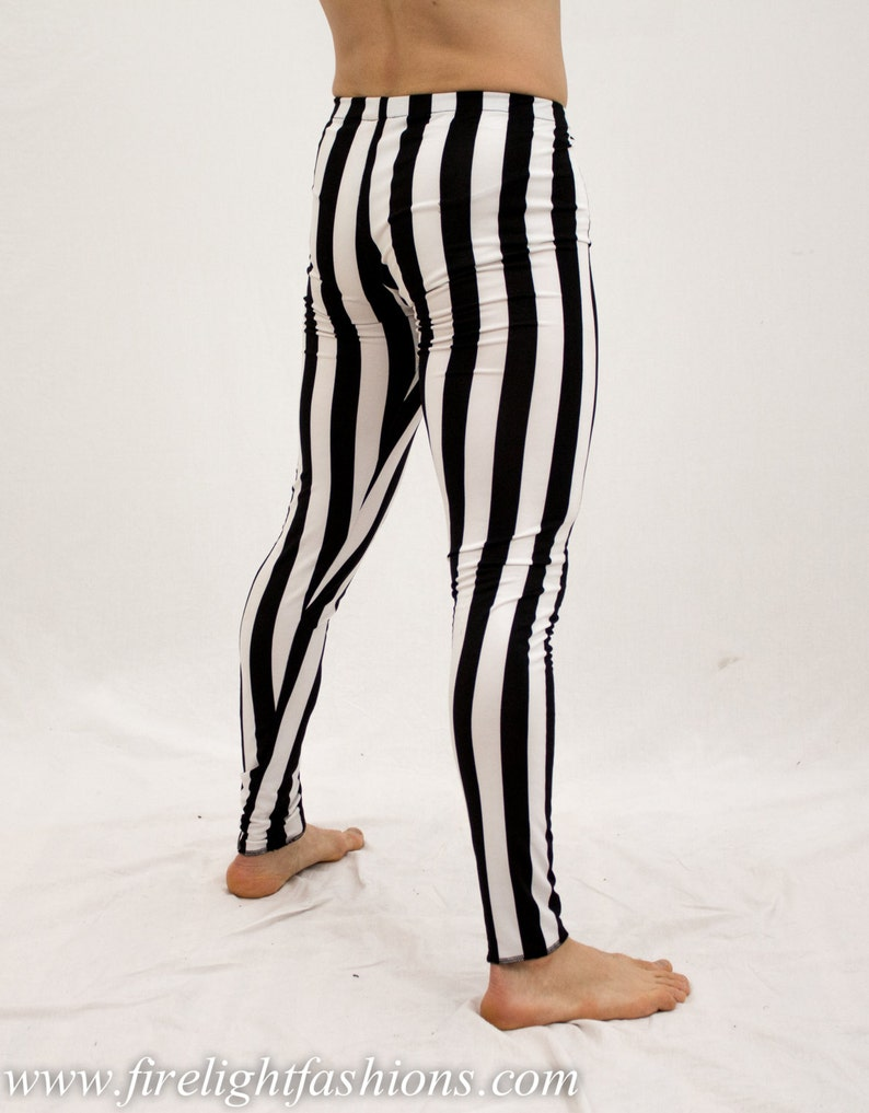 41bcacf03be4 Mens leggings stripe tights black and white pants dance | Etsy