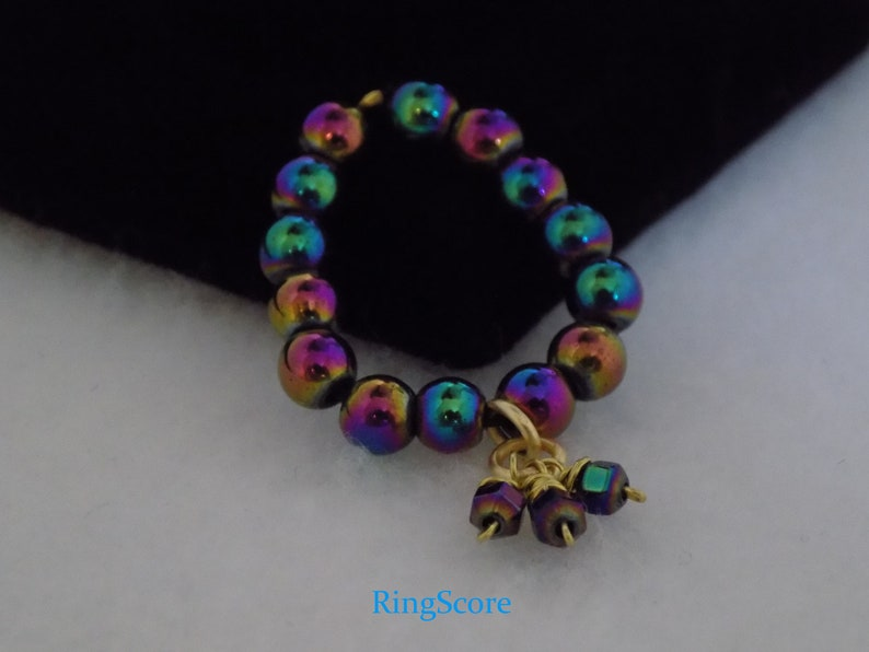 Peacock Hematite Stretch Ring wCharms