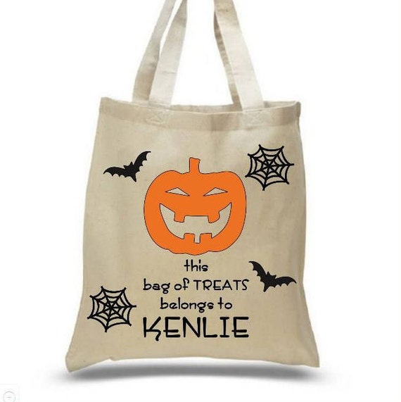 Personalized Trick-or-Treat bag. Great for all the goodies your kids will collect. 3 different designs to choose from: spider, sparkle pumpkin and a witch. This is a cotton canvas tote bag