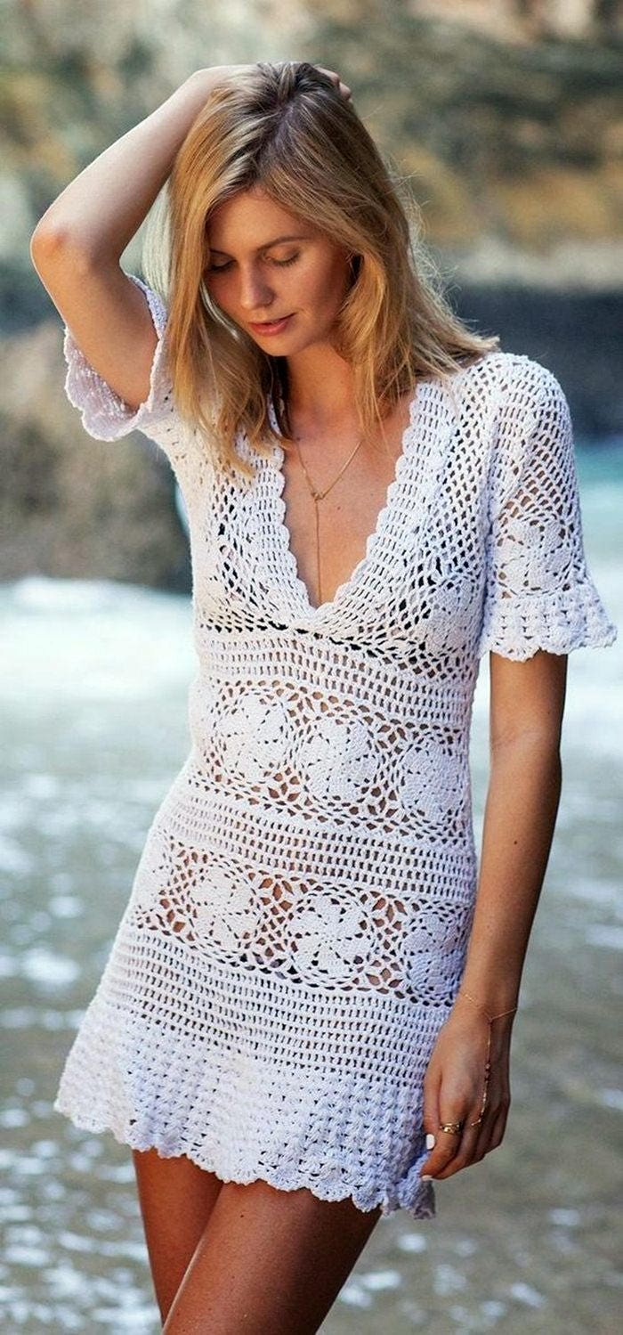 Damen Mini Strand Kleid Tunika häkeln Brauch | Etsy