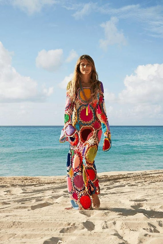 Lange Bunte Kleid Lang Lang Stil Strand Lange Hippie Kleid Etsy