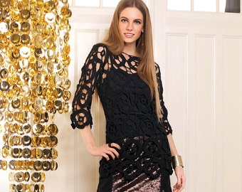 Women's handmade crochet tunic black / custom