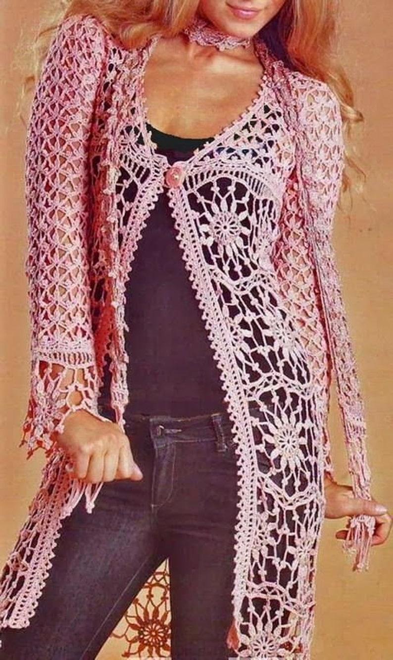 Long summer vest in pink color crochet Long summer cardigan pink color crochet  custom