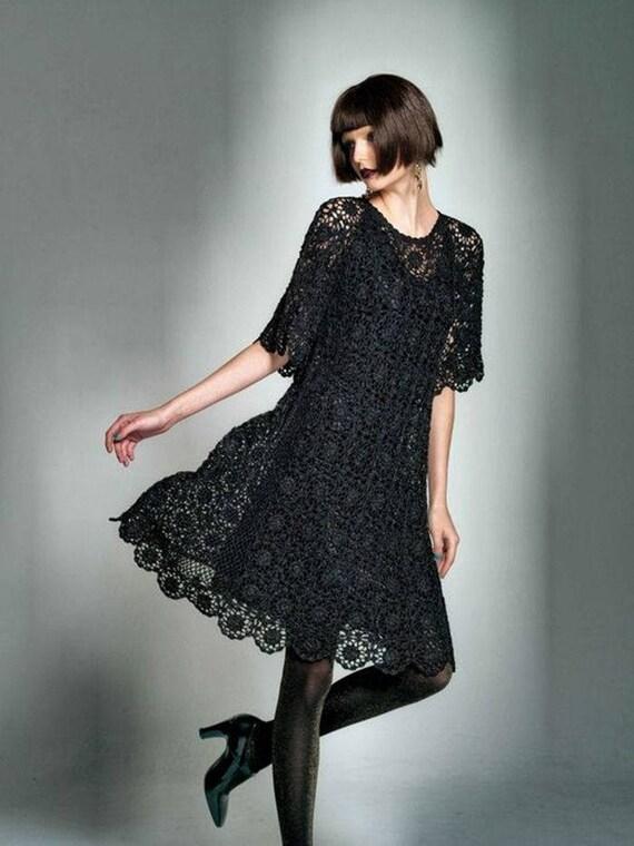 Kleine Schwarze Kleid Aus Häkeln Custom Etsy