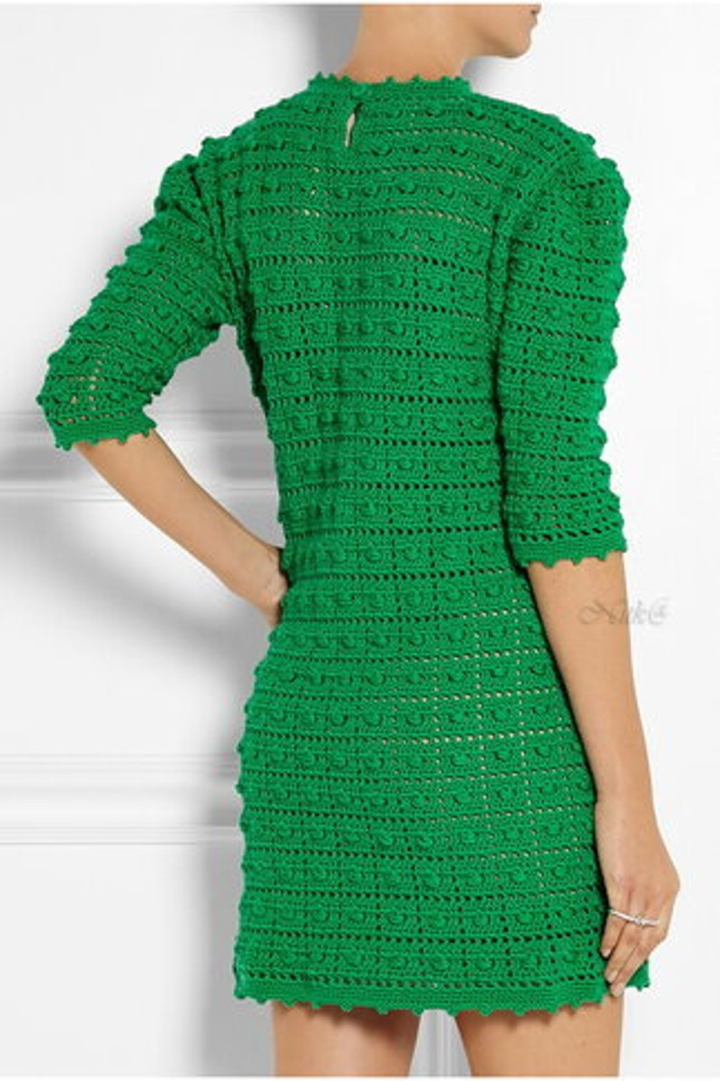 Winter Cotton Dress crochet   made to order Lady/'s Blue Dress crochet