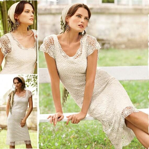 Beautiful ladies white dress crochet  custom