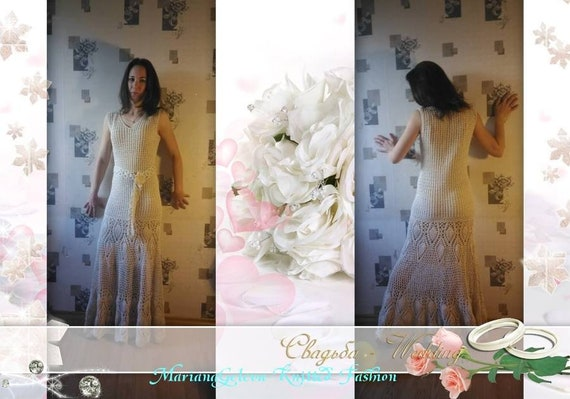 custom Long ecru dress crochet in wedding wqaXO
