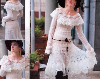 Ladies knitted white dress crochet mohair / custom