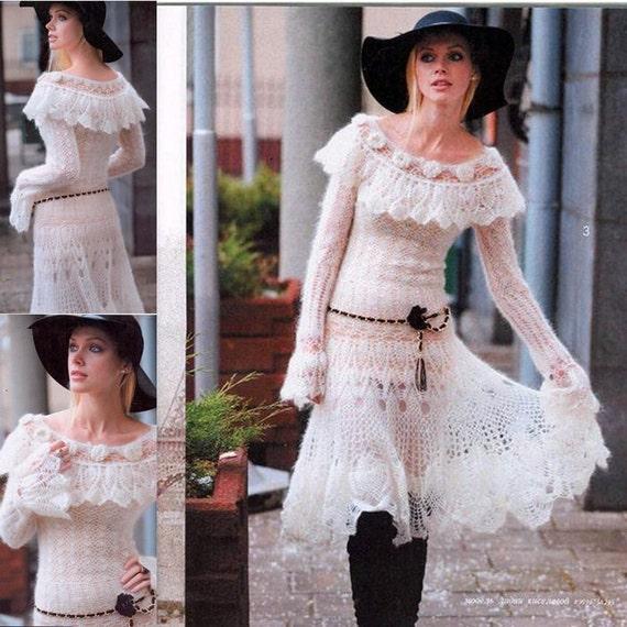 custom crochet dress Ladies white knitted mohair wtEWXfq