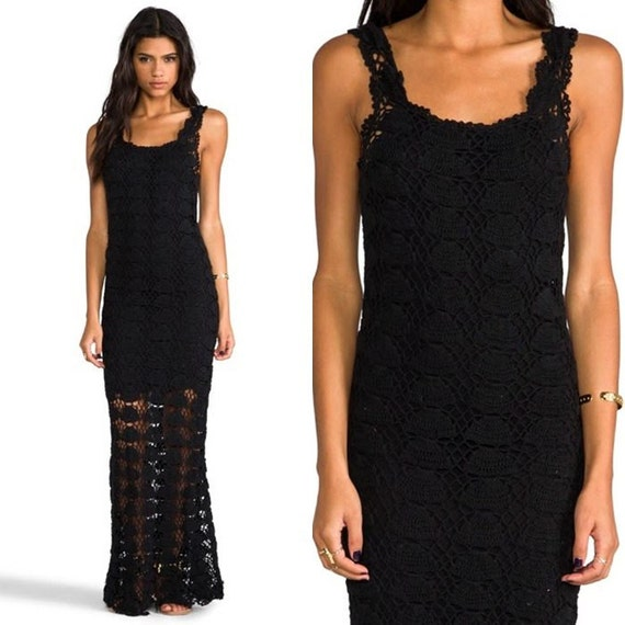Elegant long dress crochet custom black f0Twrf