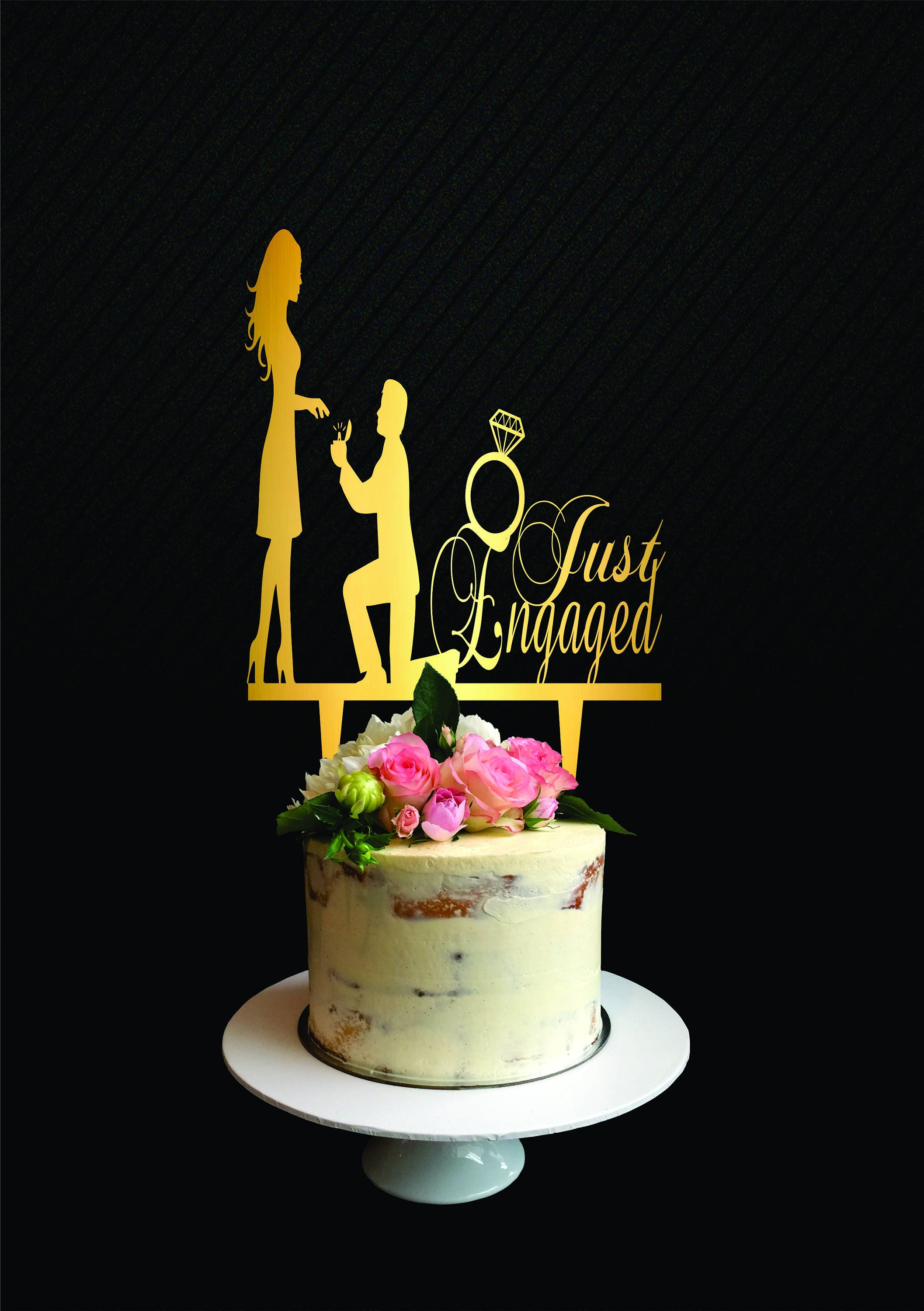 Just Engaged cake TopperEngagement Cake Topper Married ...