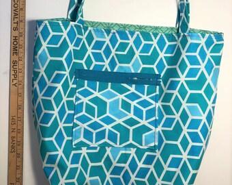Geometric Blue Reversible Tote Bag