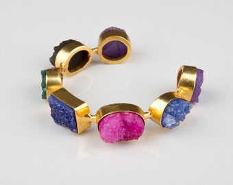 Spectrum - Handmade Druzy Multicoloured Silver and Gold Plated Boho Beach Bangle Cuff - Indian Jewellery - Indian Jewelry