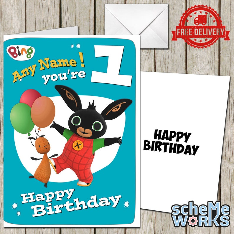 Bing Bunny Personalised Greeting Birthday Card Free Envelope