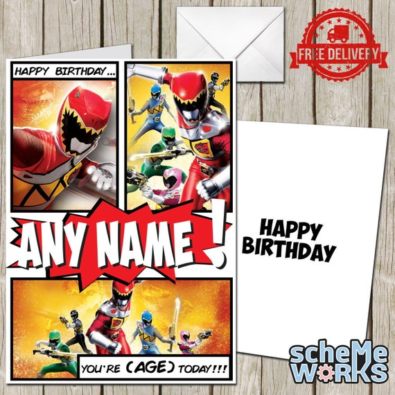 Power Rangers Personalised Greeting Birthday Card Dino Charge Etsy