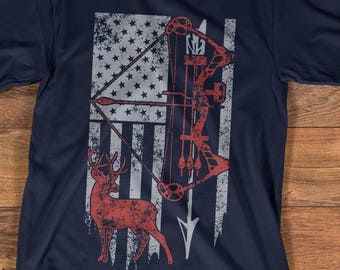 ef75695fe5faf Hunting Shirt with American Flag, Bow Hunting T-shirt, American Hunter Shirt,  Hunting Gear for Men and Women, Father's Day Hunting Gift