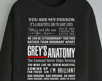 d7a8c153a4c Greys Anatomy Sweatshirt, You're My Person Sweatshirt, Greys Anatomy Quotes  Sweatshirt, Greys Anatomy Sweater Gift for Grey's Girl