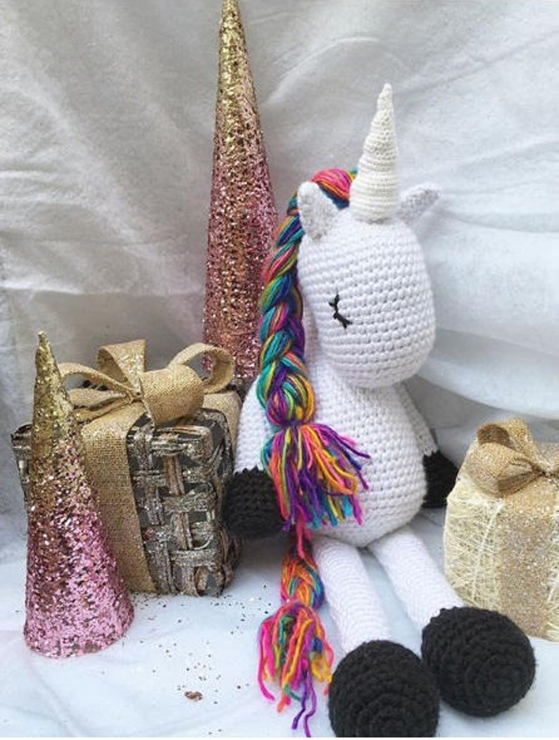 RTS Jumbo 3ft Tall Rainbow Unicorn Plushie Handmade Crochet Toy