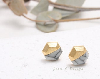 White Howlite Hexagon Stud Earrings, White Marble Stud Earrings