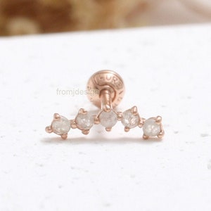 Conch 0.03ct Genuine Natural Peridot Prong Setting Solid Gold Cartilage Helix Lobe Piercing Earring-18g 1pcs