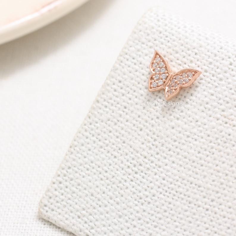 Conch 14K 18K Solid Gold Genuine Diamond Pave Butterfly Ear Stud Lobe Tragus 18G 1pcs Cartilage Helix Piercing Earring-16G