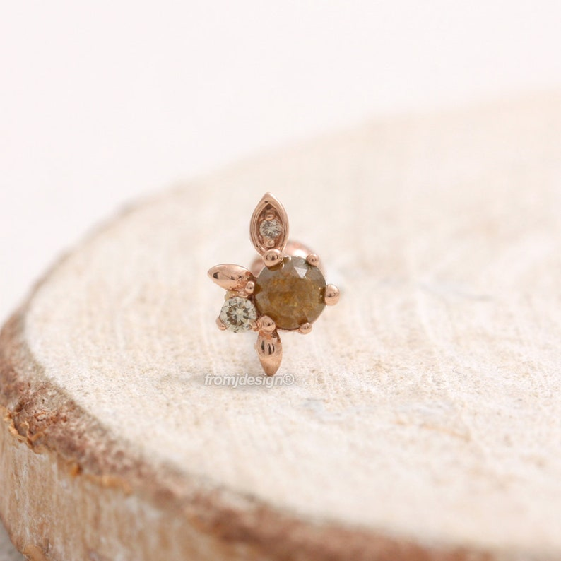 14K 18K Solid Gold Genuine Brown Diamond /& Cognac Diamonds Elf Leaf Stud Lobe Helix Tragus Piercing Earring-18G 1pcs Conch Cartilage