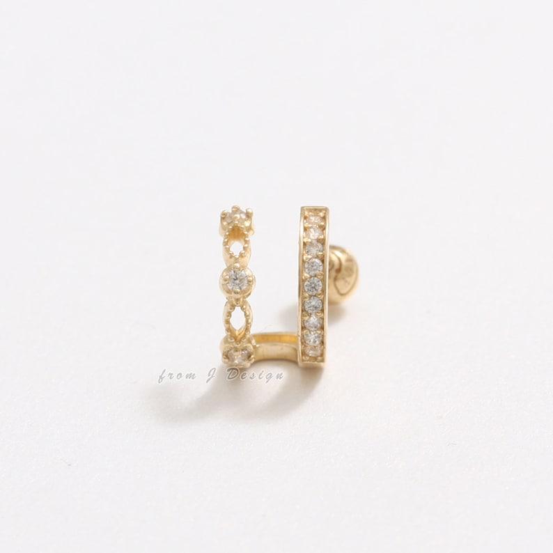 Piercing Earring-18G 1pcs Lobe Helix Tragus 14K 18K Solid Gold CZ Pave /& Milgrain Lace Double Line Ear Hoop Stud Conch Cartilage