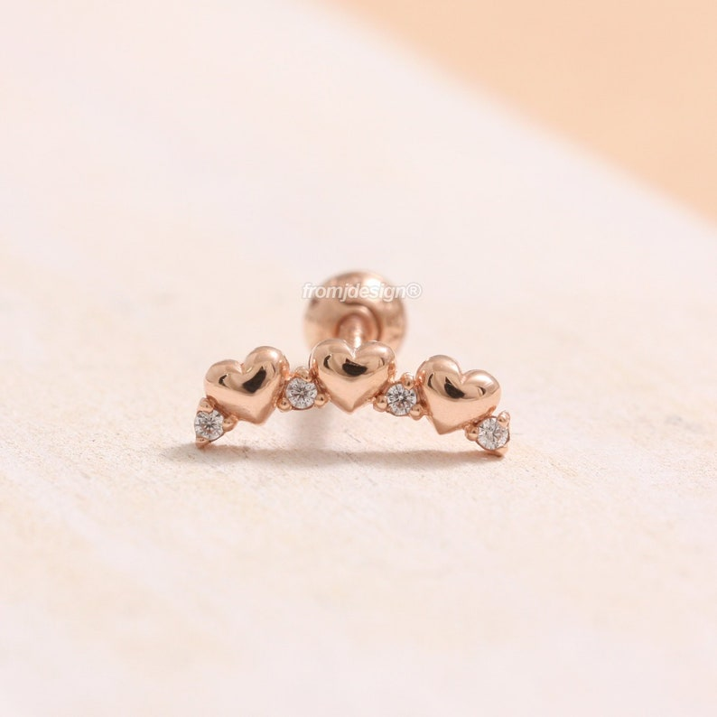 f2a64200b 14K 18K Solid Gold CZ Accent Triple Heart Stud Tragus | Etsy