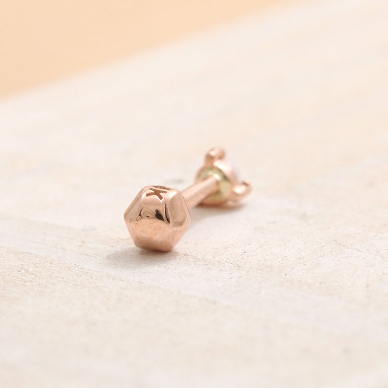 18G 1pcs Lobe Conch Cartilage Tragus Piercing Earring-16G 14K 18K Solid Gold 2mm Tiny Genuine Lapis Lazuli 3 Prongs Stud Helix