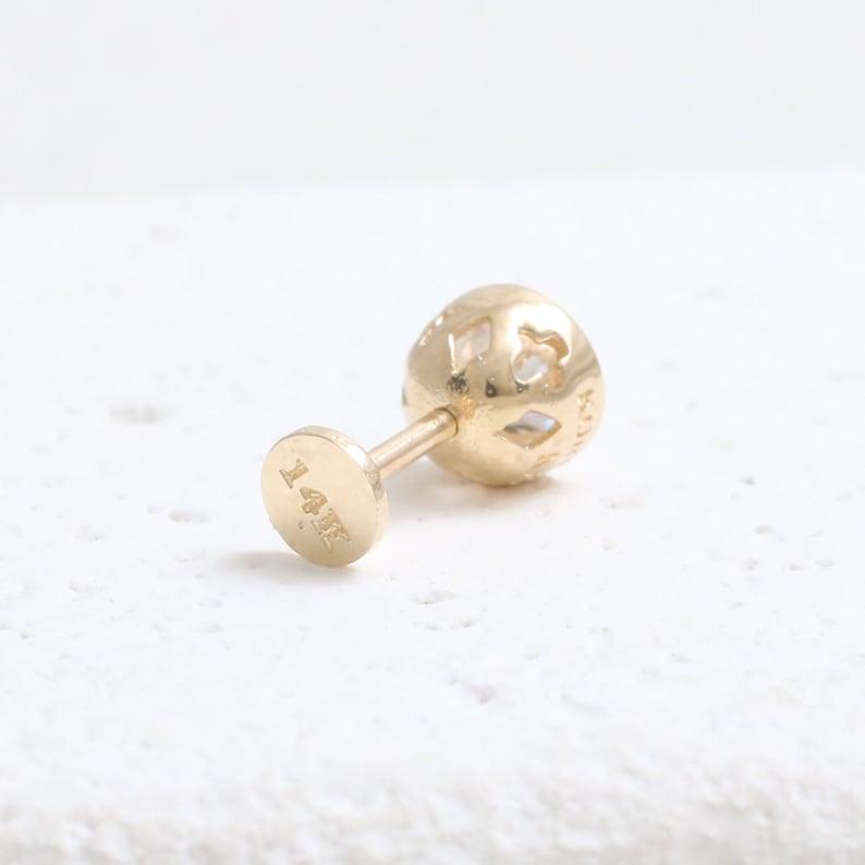 Conch Cartilage Labret Piercing Earring-16g Tragus Helix 18g 1pcs Lobe 14K 18K Solid Gold 0.5ct Moissanite Bezel Setting Ear Stud