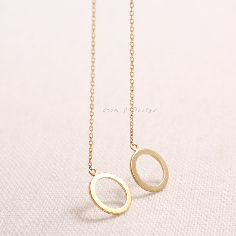 14K Solid Gold Open Circle Chain Drop Threader Geometric Earrings