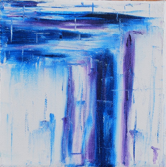Impressionist Wall Art Original Blue and Purple Contemporary Modern Art Abstract 16x 20 Oil Painting by Joanna Frick Minimal Canvas Art