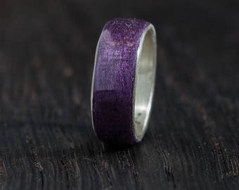Wooden Ring - Silver - Bentwood  Ring - Handmade -  Wedding Ring - Gift for her - Gift for him - Wooden Jewelry - Wood Ring - Wood Jewelry