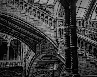 Staircase stairs print classic London architecture photo, black and white photography, fine art, wall art, home decor, brick wall steps