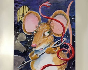Watercolor of popular novel The Tale of Despereaux by Katie DiCamillo