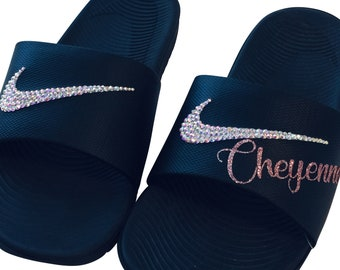 83d0a661941f Women's Nike Slides Rose Gold and Personalized with YOUR Name Bedazzled  Sparkly Nike Sandals