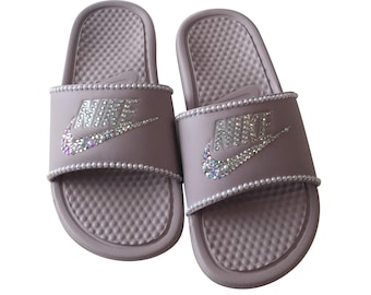 sale retailer 246ad 0c9a0 Nike Slides PEARLS   BLING Rose Pink Color More Colors Available
