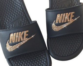 1e00f888662e Nike Slides BLINGED OUT with GOLD Crystals - Bedazzled Glitter Nike Sandals
