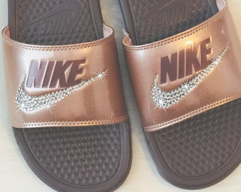 d2066624e61e Swarovski NIKE Slides Bedazzled BRONZE with Lots of Glitter- Sparkly Shoes