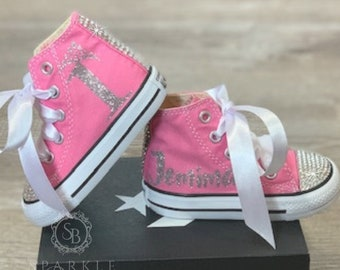 033ec0988224 Kids CONVERSE Swarovski Blinged Out and Personalized Custom Children s Shoes
