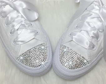 f132e5575 Wedding Converse SWAROVSKI Custom Converse Wedding Chucks Bedazzled Chuck  Taylor High Top or Low Top All Sizes Choose Your Crystal
