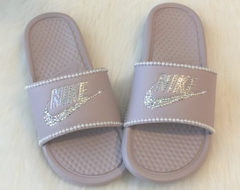 7c4f1d49b3ab0b Swarovski Nike Slides Custom with Pearls   Bling Rose Pink Color More  Colors Available