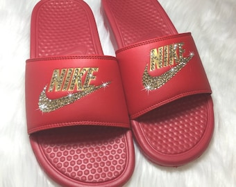 1decbd5c911781 Nike Custom Slides Red and GOLD Bling Bedazzled Slipper Sandals by  SparkleBoutique2U