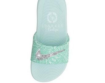 best service 40664 a336d Nike Slides Swarovski Bling Nike Slides Sparkly Nike Sandals Bedazzled Nike  Slide SparkleBoutique2U