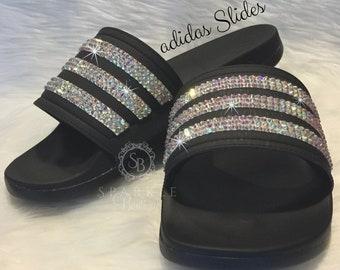 85fc6a762 Swarovski Women's adida Slides Bedazzled Adilette Cloudfoam Slides Custom  More Crystal Colors